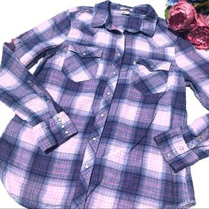 Levi's Western Pearl Snap Plaid Shirt Size L